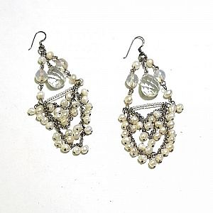 Anting chandelier drop kristal transparan dan mutiara air tawar CO-176