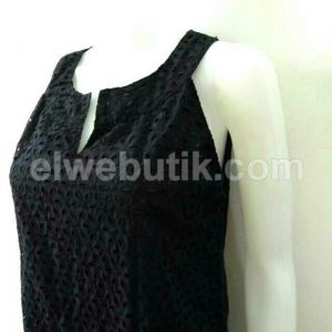 Dress A-line katun brokat hitam BK-22